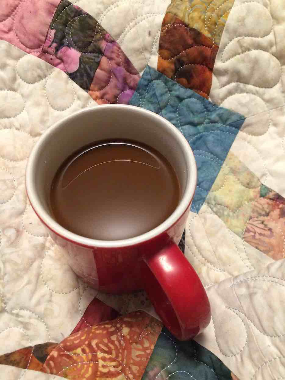 coffee on quilt